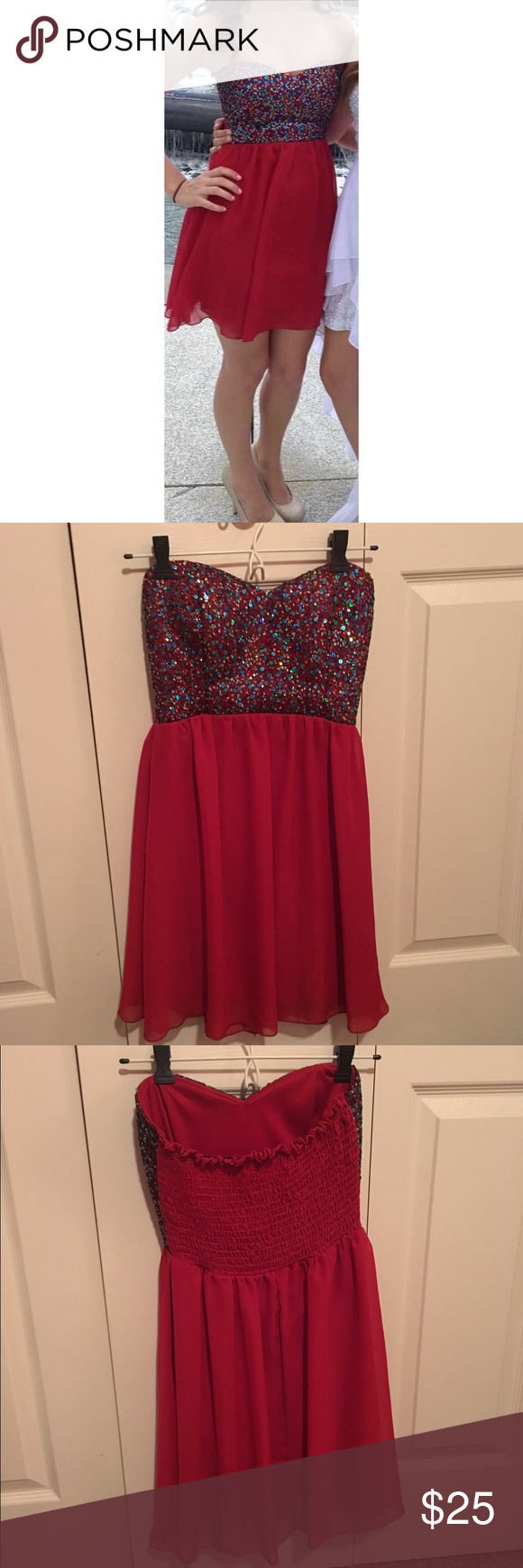 Short red homecomingprom dress homecoming sequins and prom