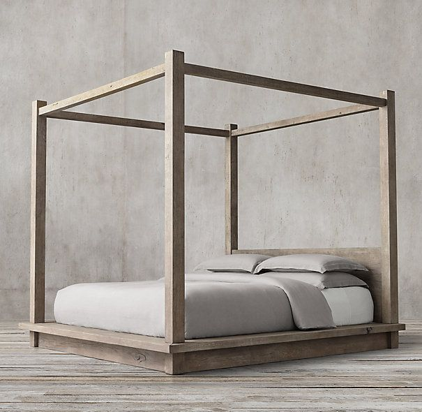 4 Poster Canopy Bed reclaimed russian oak 4-poster canopy bed without footboard | main