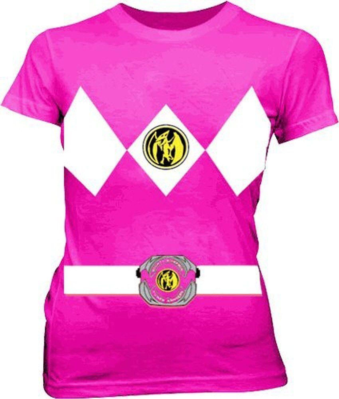 Amazon.com: Power Rangers Pink Costume Juniors Fuschia T-shirt Tee ...