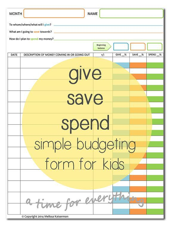 Give Save Spend Budget Sheet Printable For Kids