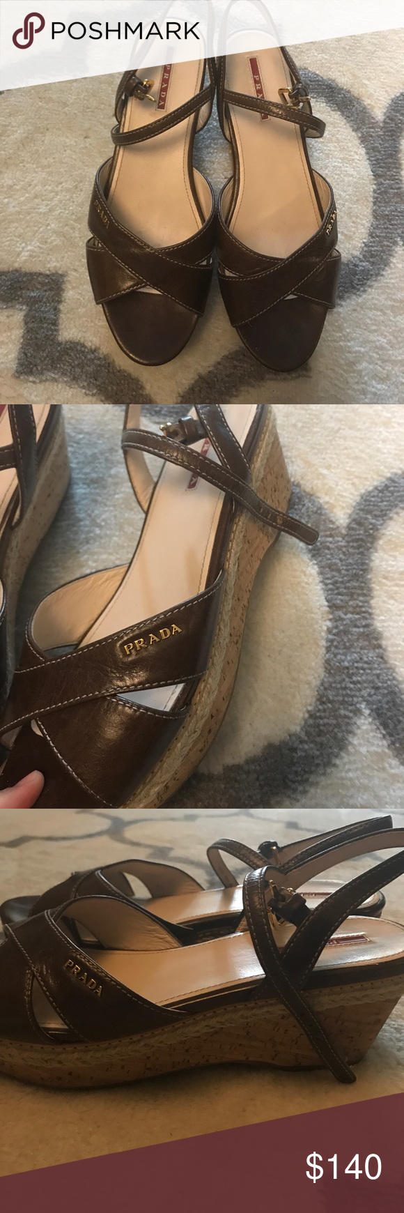 Prada brown wedges size 39 with Prada logo Beautiful and very comfortable brown Prada wedges. Wedges are just a little dirty from wear but have a long life left. The are size 39 but fits best a size 8-8.5. Shoes only! Prada Shoes Wedges