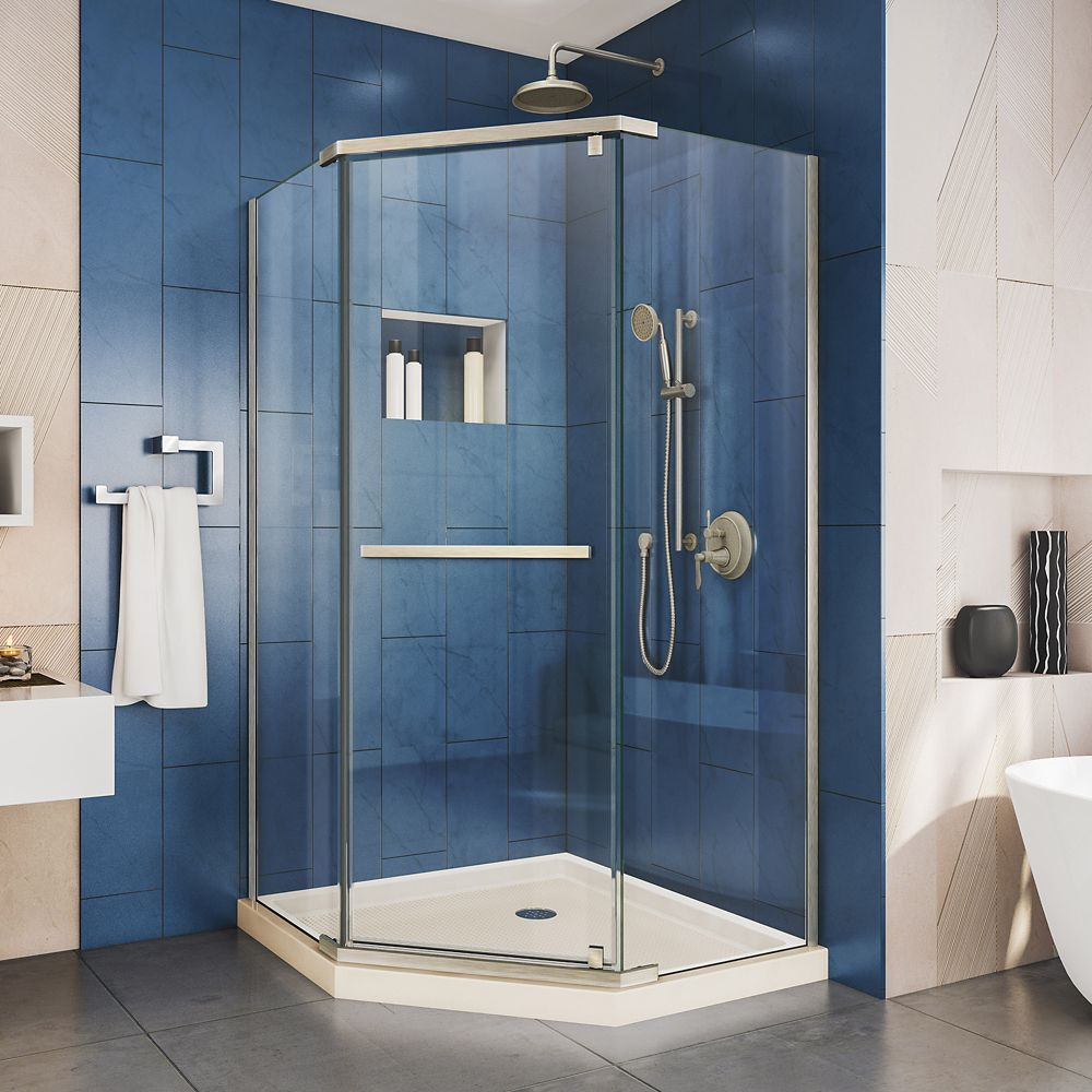Prism 42 Inch D X 42 Inch W Shower Enclosure In Brushed Nickel And