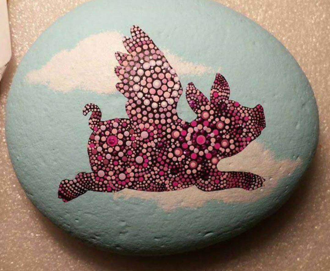 When Pigs Fly Mandala Painted Rock Wcpr
