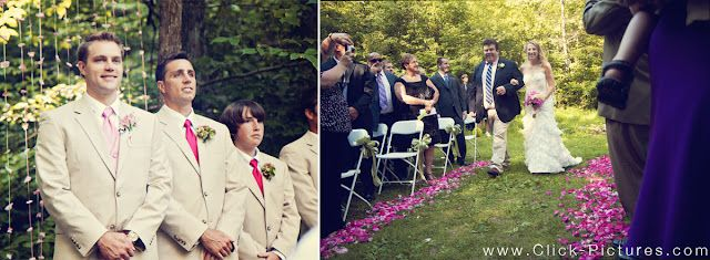 outdoor ceremony aisle lined with pink flowers