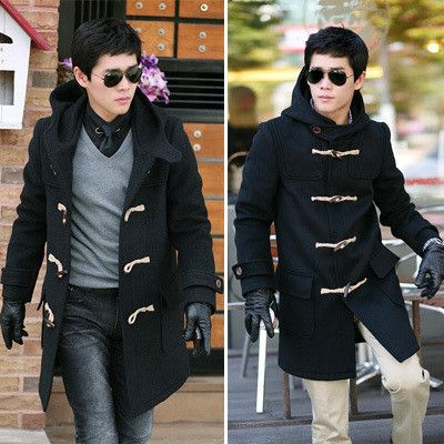 Wool Pea Coat With Hood For Men | Fashion Belief | Stuff to Buy ...