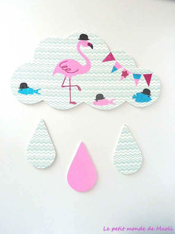 Décoration grand nuage flamant rose mint rose et bleu - chambre ...