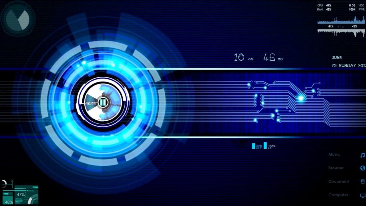 Modern Tech Rainmeter Desktop Visualization Technology