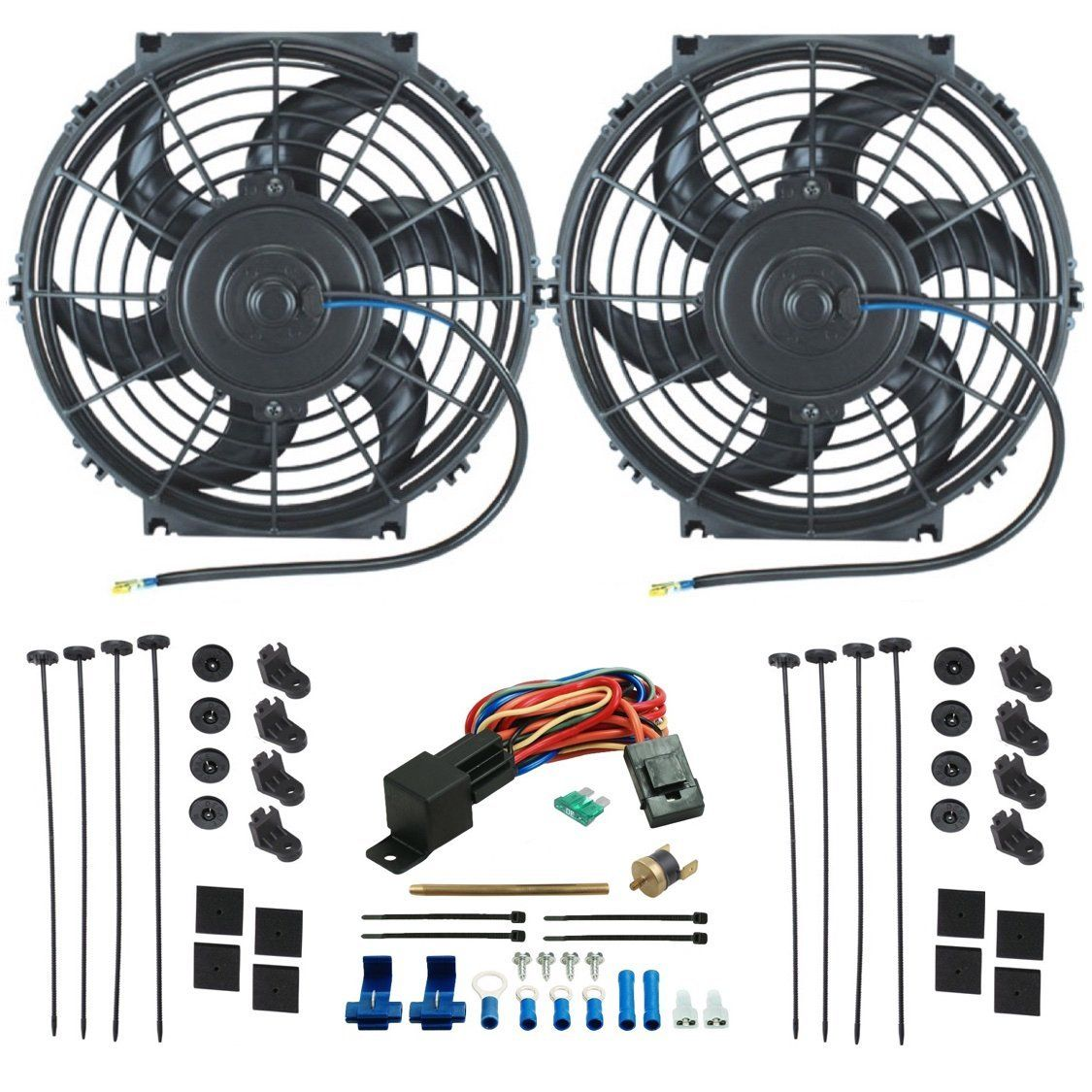 Dual 10 Inch Electric Radiator Cooling Fans Push In Fin Probe