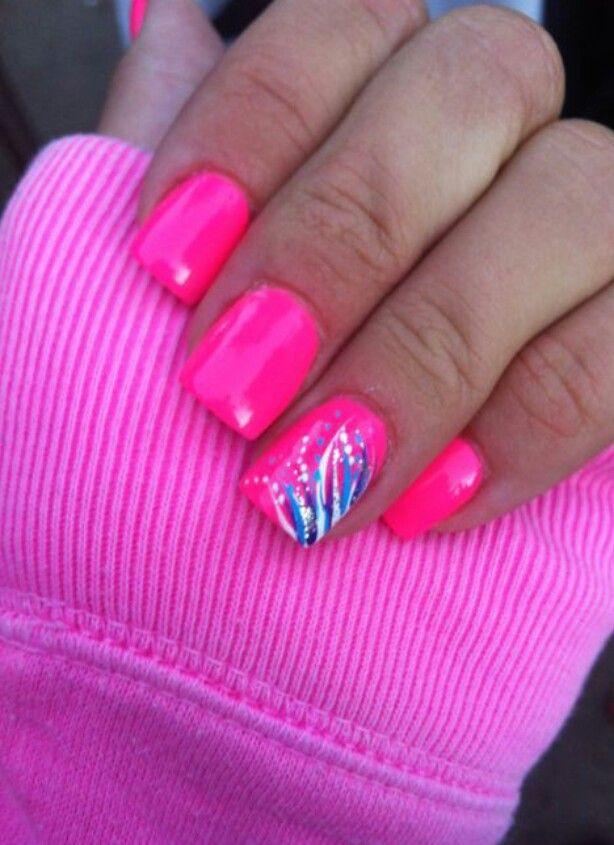 Hot Pink White Blue Luminous Nails Bright Pink Nails Halloween Nails Diy