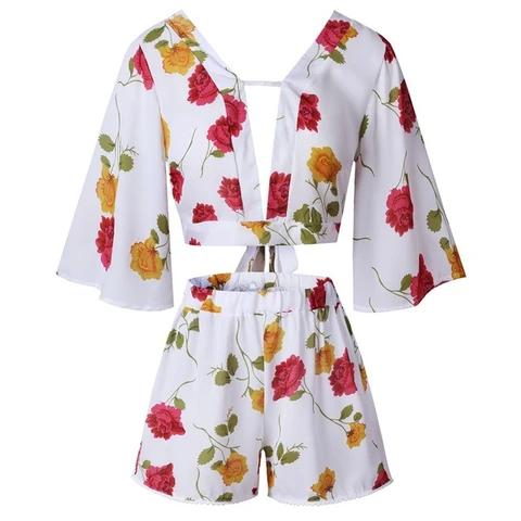 Floral Print CropTop And High Waist Chiffon Shorts