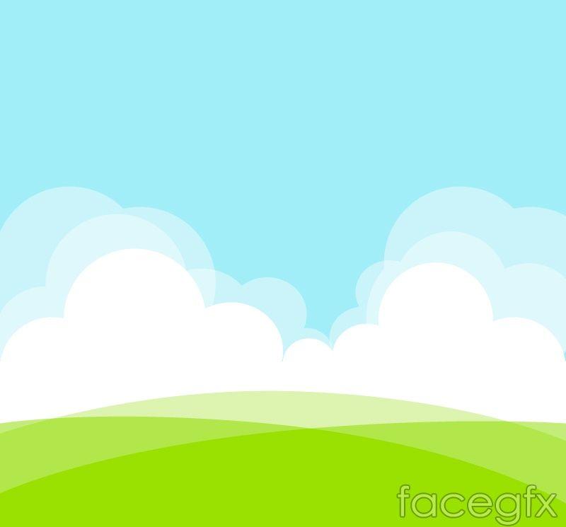 Green Field Landscape Vector Powerpoint Background Design Background Design Vector Background Powerpoint