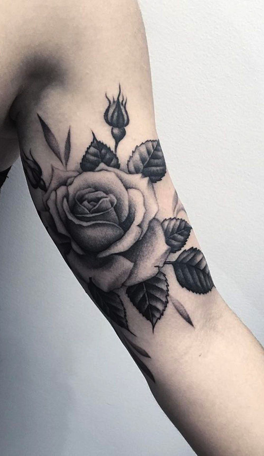 Black and White Rose Bicep Arm Tattoo Ideas for Women - www.MyBodiArt. - Realistic Black