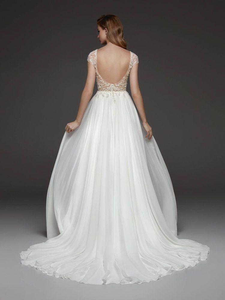 Beaded cap sleeve vneck bodice flowy aline wedding dress