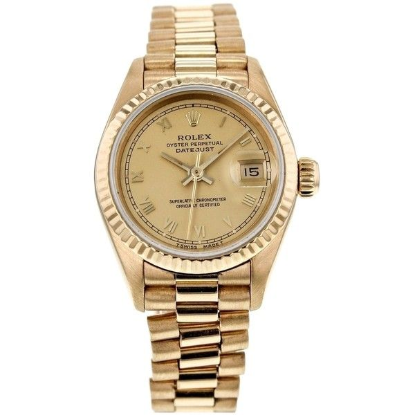 Pre-owned Rolex Date Just 26mm 69178 18k Yellow Gold Champagne Dial... (119 920 ZAR) ❤ liked on Polyvore featuring jewelry, watches, accessories, gold, yellow gold jewelry, 18k gold jewelry, 18k watches, gold jewelry and gold watches