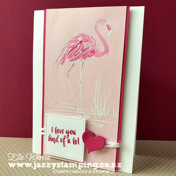 I had the incredible honour of being a Display Stamper for OnStage Auckland last weekend. I shared the photo of my display on my Facebook page and some of you have asked for close ups of the cards. So, here are the Fabulous Flamingo cards to start with. I will try and get the others photographed as soon as I am back from holiday.