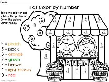fall autumn color by number addition subtraction within 10 first grade friends addition. Black Bedroom Furniture Sets. Home Design Ideas