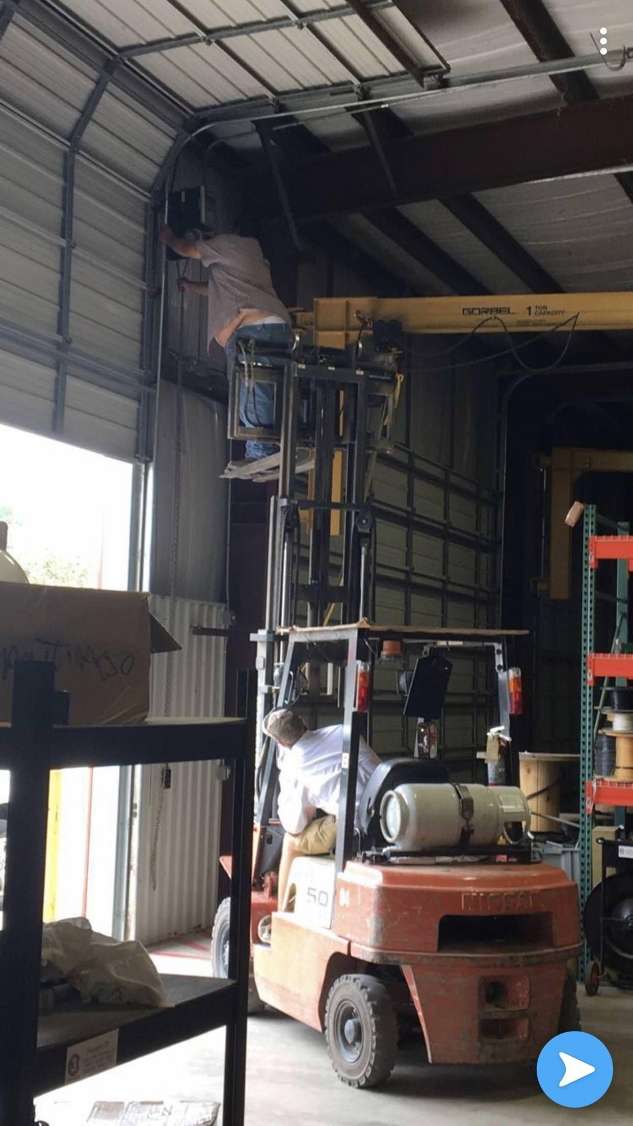 Garage Door Not Working No Problem Forklift Osha Forkliftlicense Forklifttraining Forkliftcert Industrial Safety Safety Slogans Workplace Safety Slogans