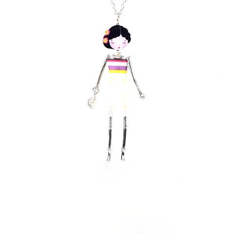 Spring 2015 Handmade Pretty French Doll Acrylic Charm Oriental Creme/Stripes Dress Long Pendant Necklace | Sage Atelier