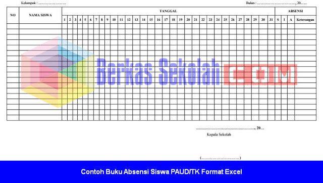 Contoh Buku Absensi Siswa Paud Tk Format Excel Tk Microsoft
