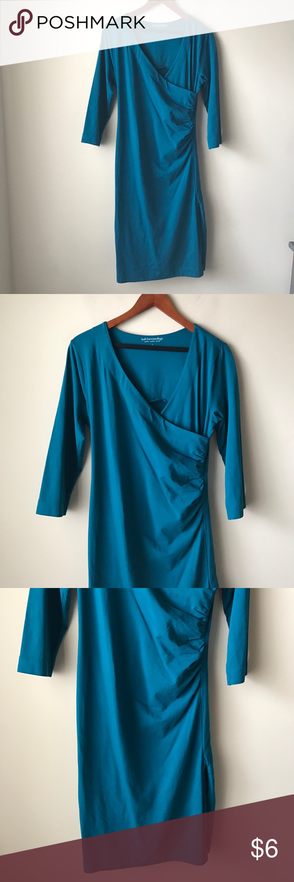 Soft Surroundings teal dress Teal faux wrap dress - surplice neckline - three quarter sleeves - size S Soft Surroundings Dresses