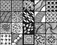 List of official Zentangle patterns with links to how to draw each: http://tanglepatterns.com/zentangles/list-of-official-tangle-patterns