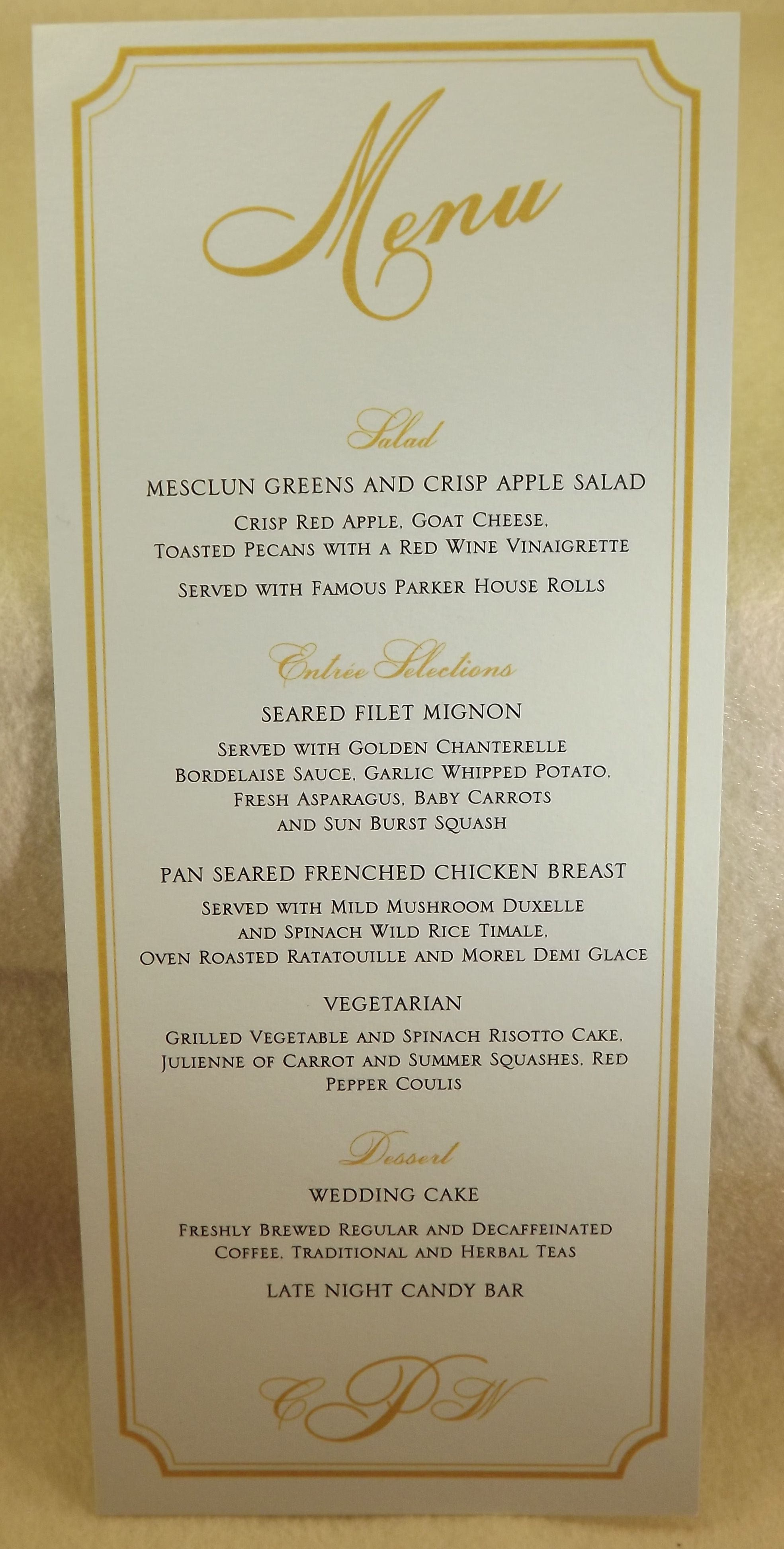 Menu With Entree Choices