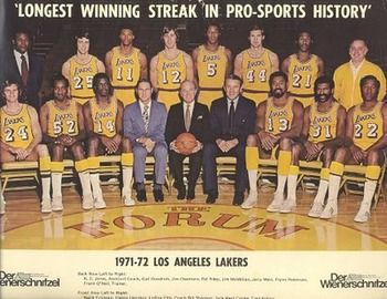 1971 1972 Lakers Longest Winning Streak Team Los Angeles Lakers Lakers Nba Pictures