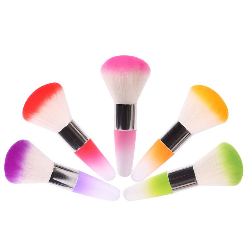 1Pcs Salon Acrylic & UV Nail Gel Powder Nail Dust Brushes Colorful Nail Art Remover Brush Cleaner Makeup Brush Foundation Tool