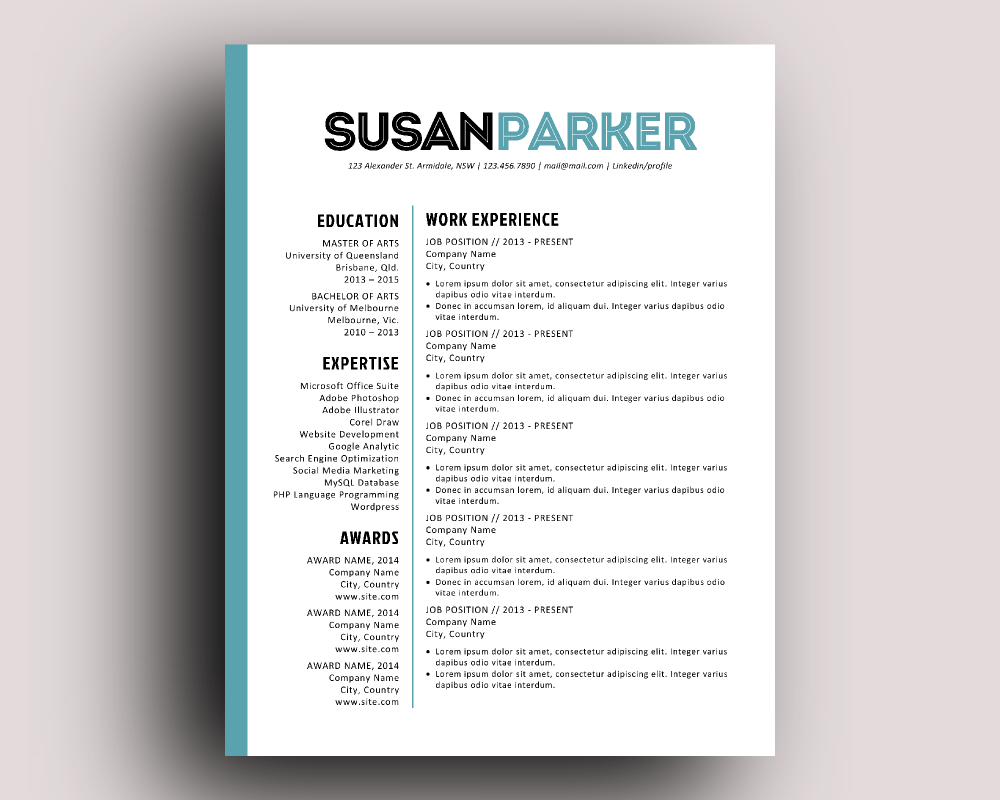 Bold Modern Resume Template By Ink On Creative Market