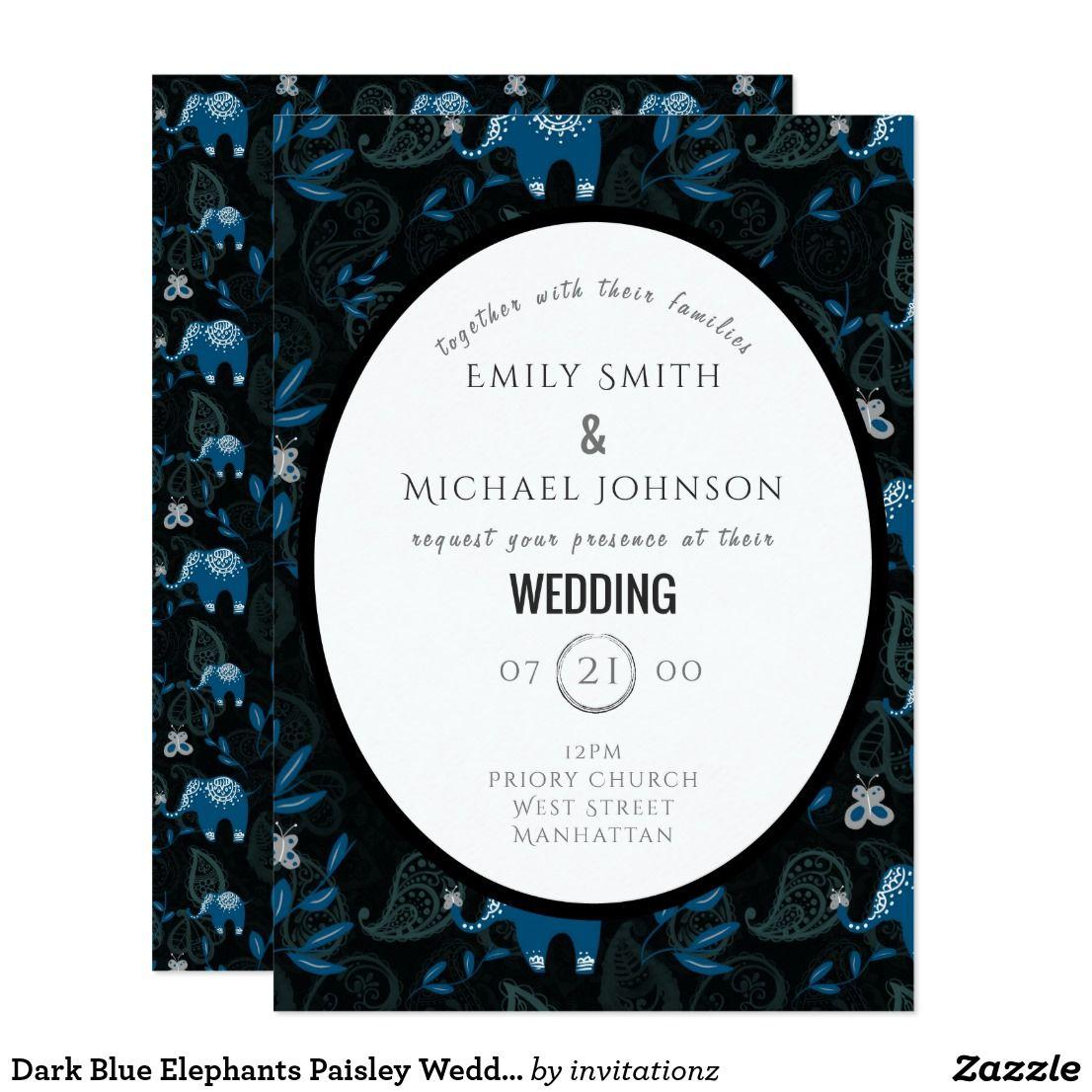 Dark Blue Elephants Paisley Wedding Invitations 2 | Trending Wedding ...