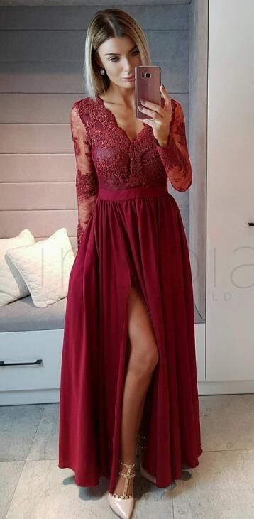 Long Sleeves Burgundy Chiffon Long Prom Dress With Side Slit Prom