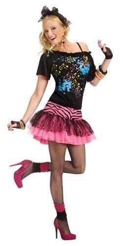 Fishnet Top Neon Green 1980/'s Rock N Roll Punk Women/'s Fancy Dress Costume