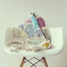 Hexagon crochet throw.