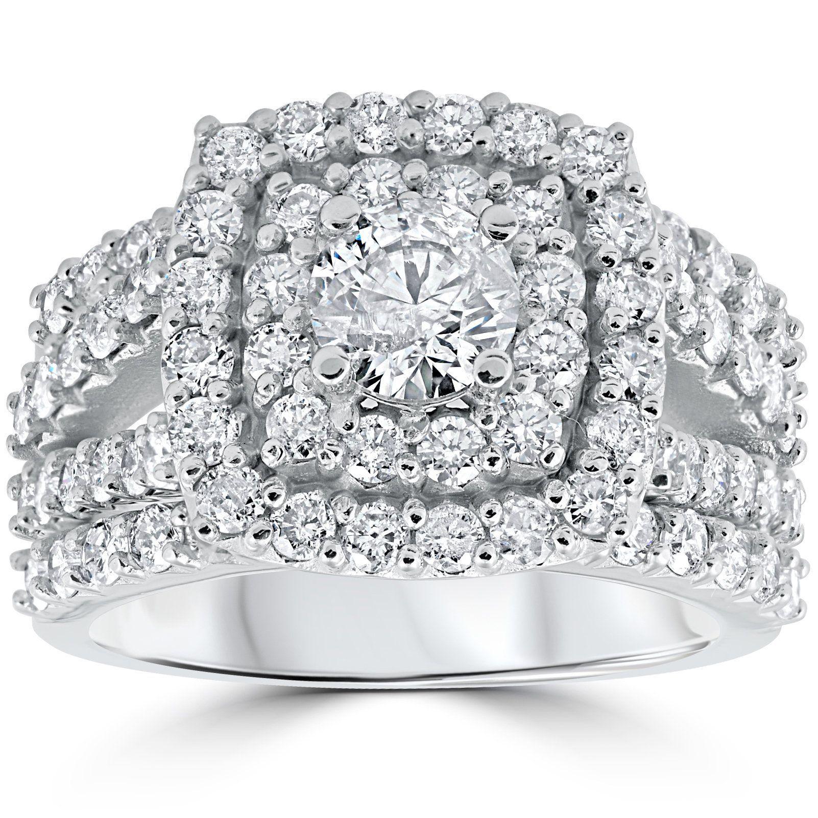 Bliss 10k White Gold 3 ct Diamond Engagement Wedding Double Halo Trio Ring Set (I-J, I2-I3) (Size