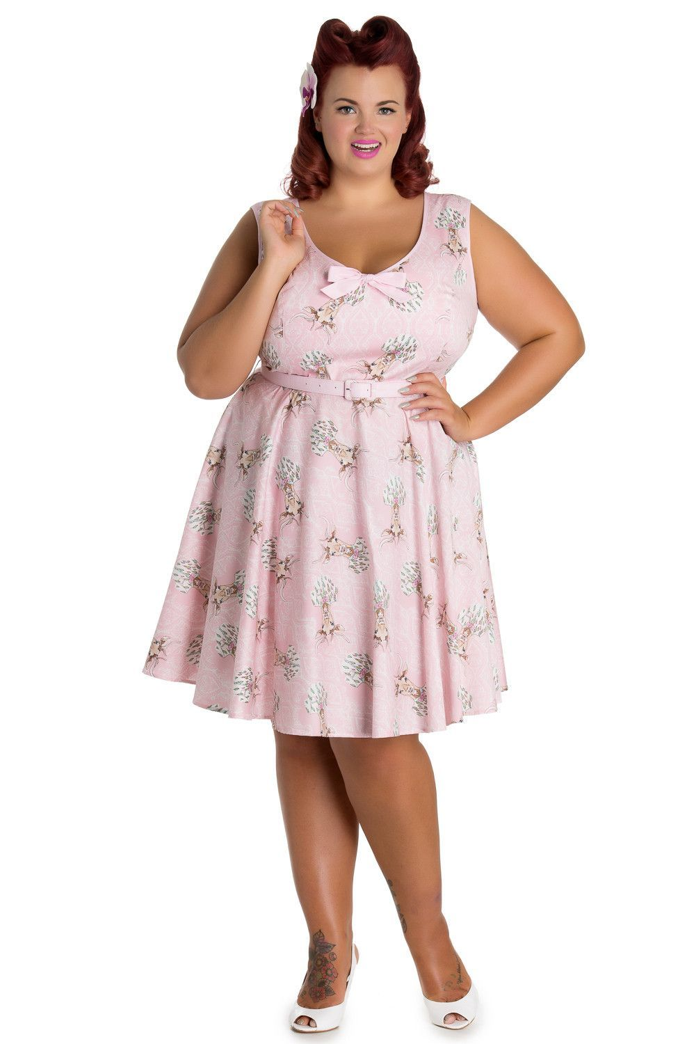 dd3d52b9ca20 Gorgeous & So pretty vintage design dress with Deer portrait print on light  pink background and a subtle white ornate wallpaper. Fitted, U-shape neck,  ...