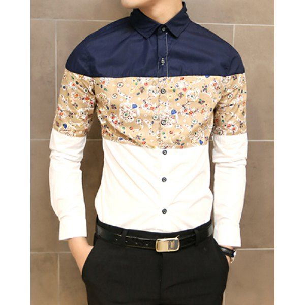 Unique And Fashionable Long Men: Stylish Shirt Collar Color Splicing Abstract Print Long