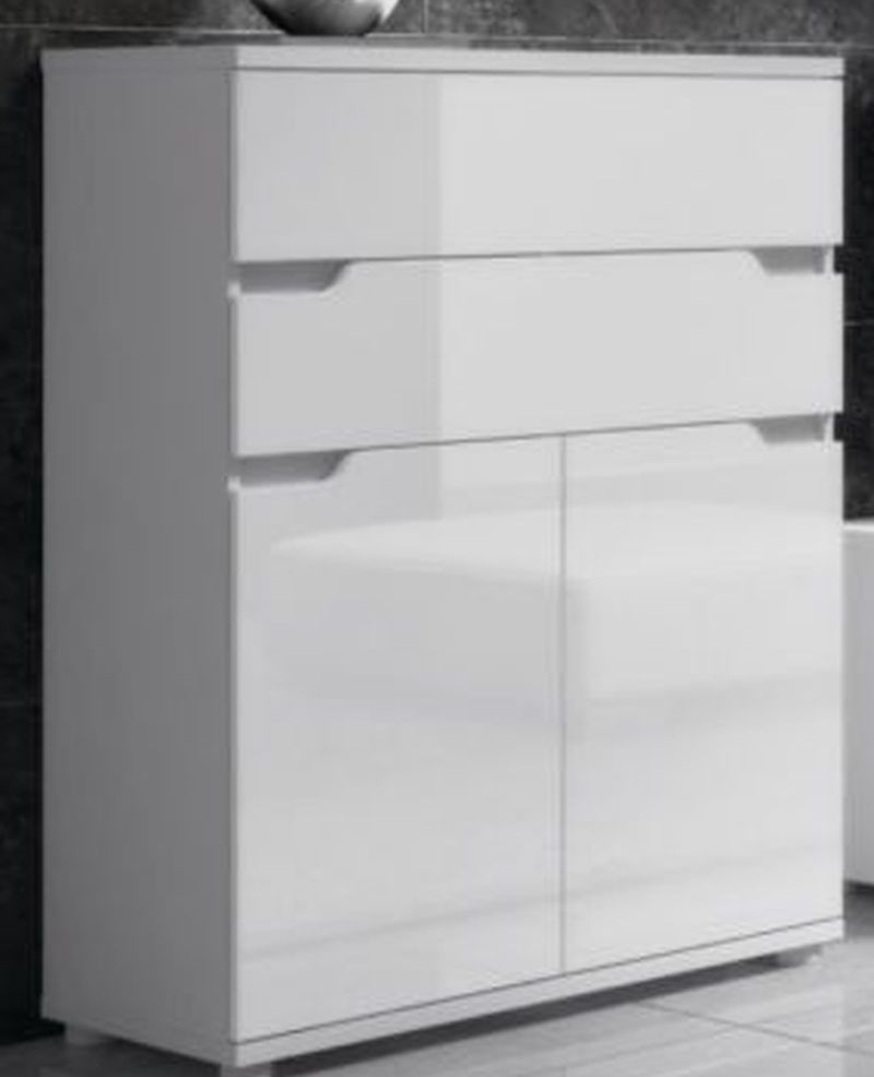 High Gloss White Lounge Sideboard Cabinet Compact Storage ...