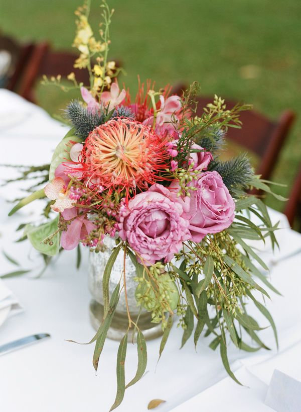Wedding Flowers On Oahu : Rose thistle and pincushion floral centerpiece photo by