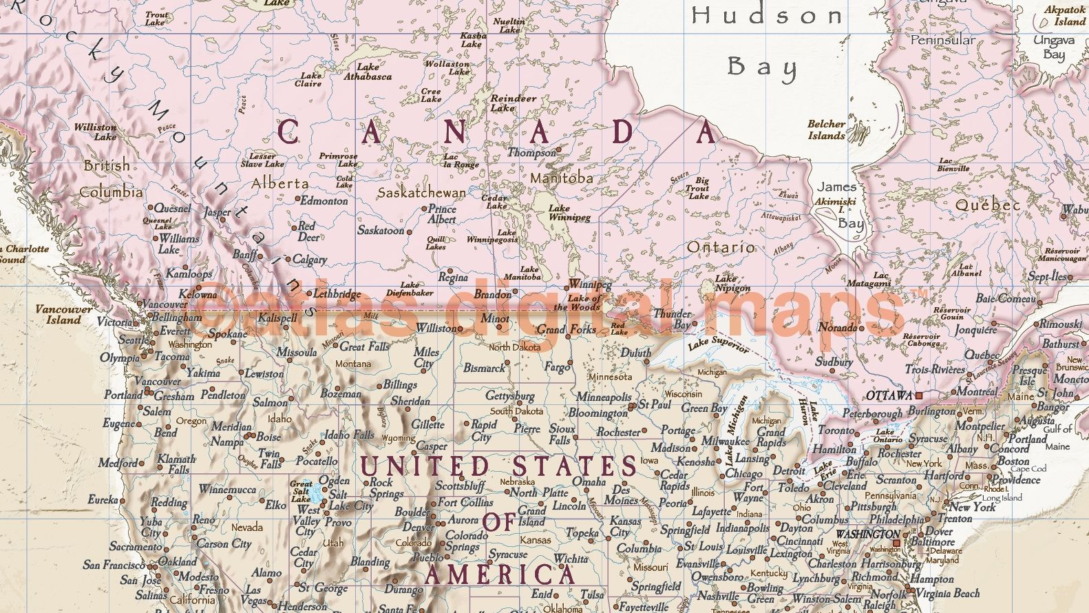 Antique Style Political Map Of North America With Cream