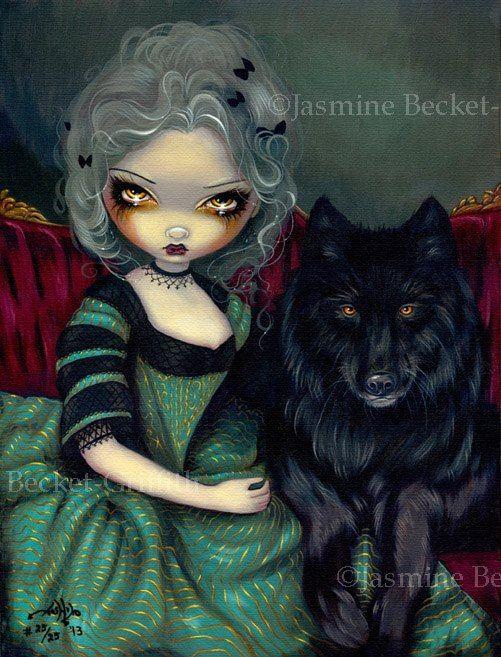 Loup-Garou Noir Wolf \/ Wolves Rococo dog gothic fantasy lowbrow big eye fairy…