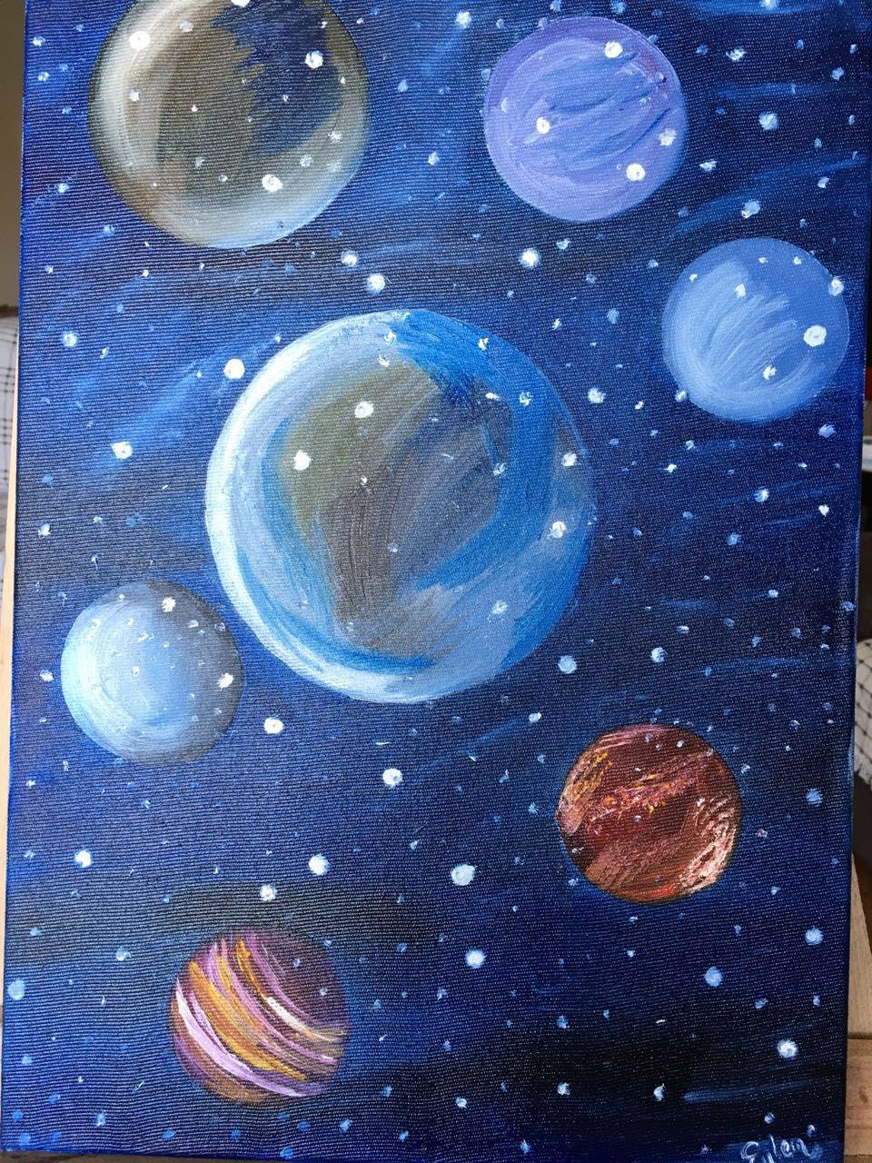 Space Painting Yagli Boya Uzay Tablosu Painting Tablolar Sanat