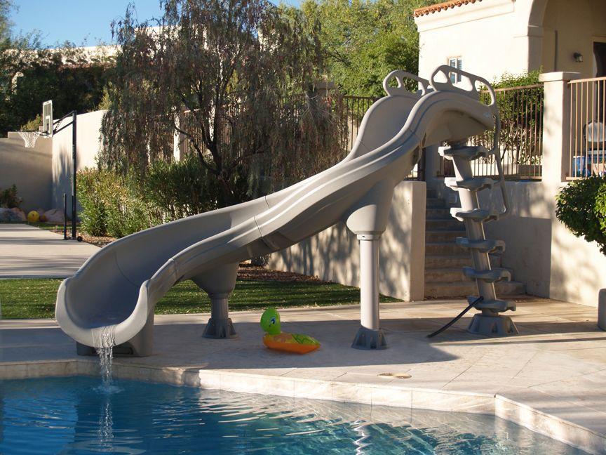 Inter Fab Adrenaline Left Hand Inground Pool Slide Pool Supplies Canada Inground Pool Slides Pool Supplies Backyard Pool