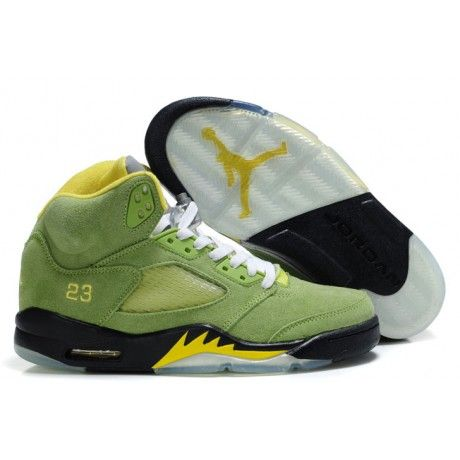 super popular e1e3b cb1fd Air Jordan 5 (V) Fluff Grass Green Black-Yellow