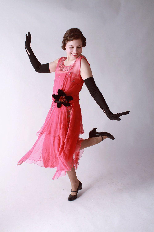 Vintage Flapper Dresses | Vintage 1920s Dress - Fantastic Hot Pink Chiffon Flapper Evening Dress ...