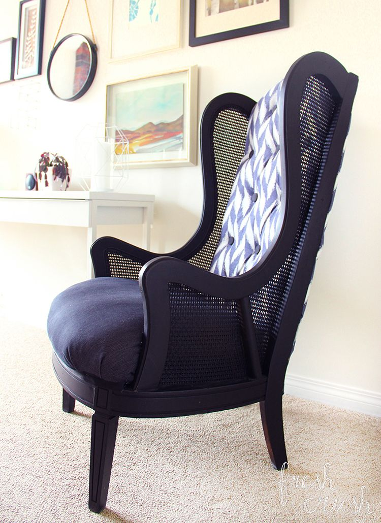 thrifted cane wingback chair makeover new ideas pinterest