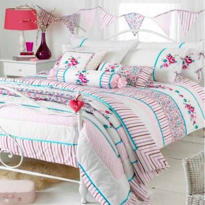 Riva Home Appleby Romany Floral Duvet Cover Set, White/Pink/Kingfisher, Double