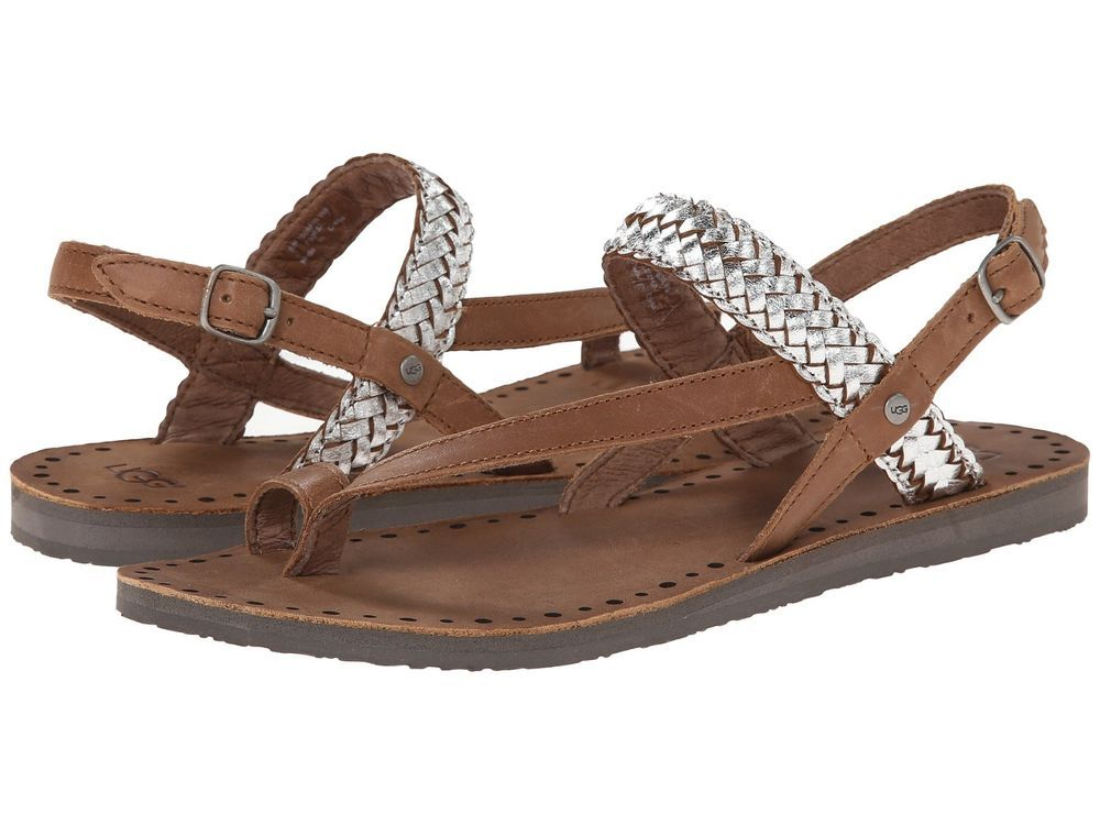 37b28c577d5 Details about Women's UGG Raee Braided Leather Toe Ring Sandals ...