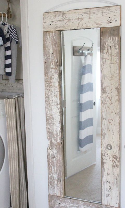 Regular mirror framed out with old barn wood. | New house ...