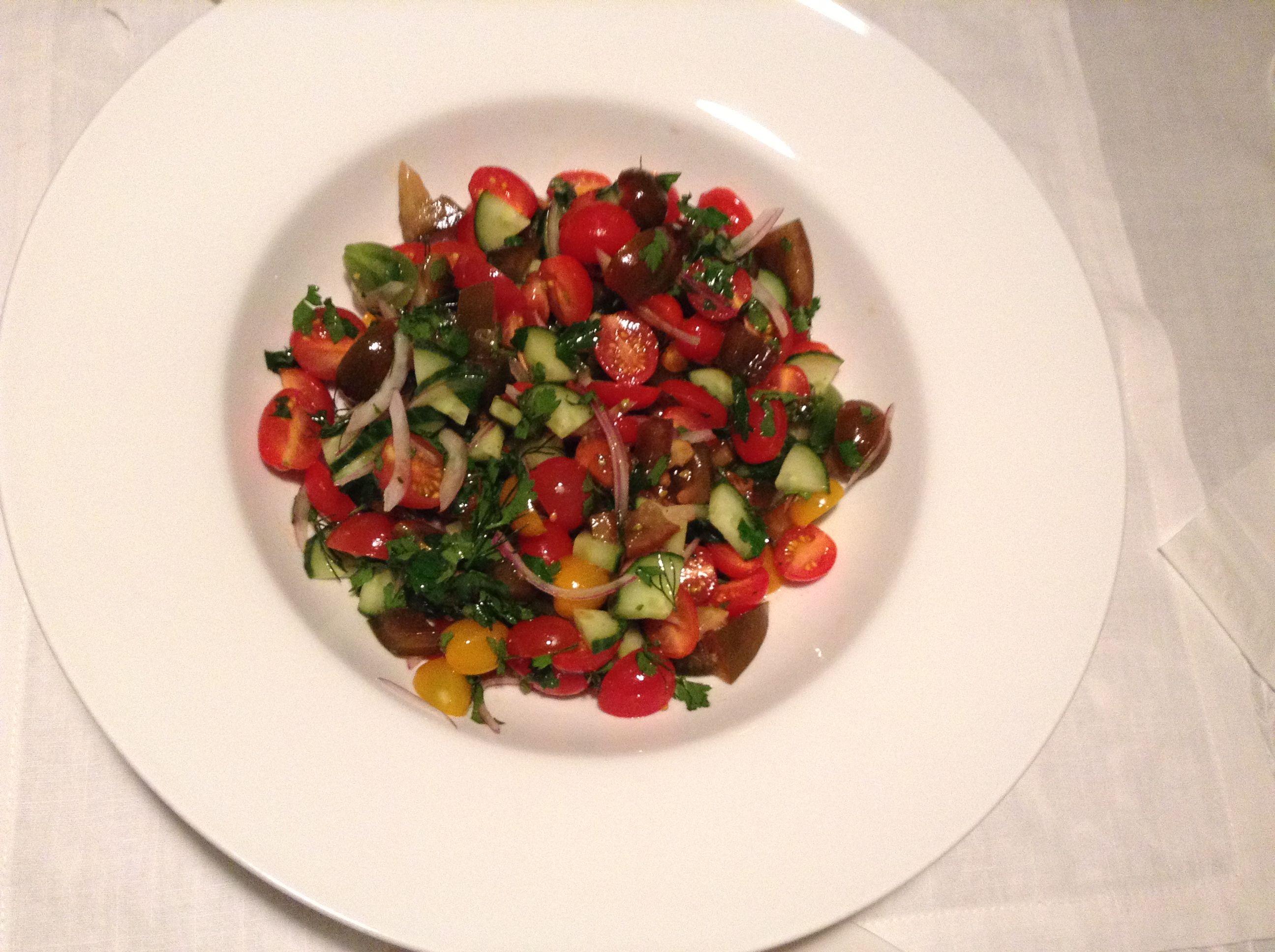 My tomato, cucumber and onion salad.