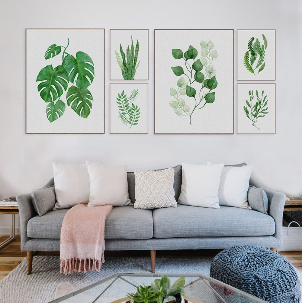 Large Leaf Wall Decor Delectable Modern Watercolor Green Leaf Flowers Plant Cottage Canvas Large A4 Decorating Design